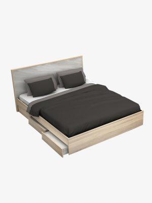 เตียง 5 ฟุต 3 ลิ้นชัก สีโซลิดโอ๊ค-หินอ่อน