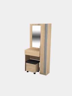 โต๊ะเครื่องแป้งพร้อมสตูล ขนาด 80 ซม. สีโซลิดโอ๊ค-ซีเมนต์