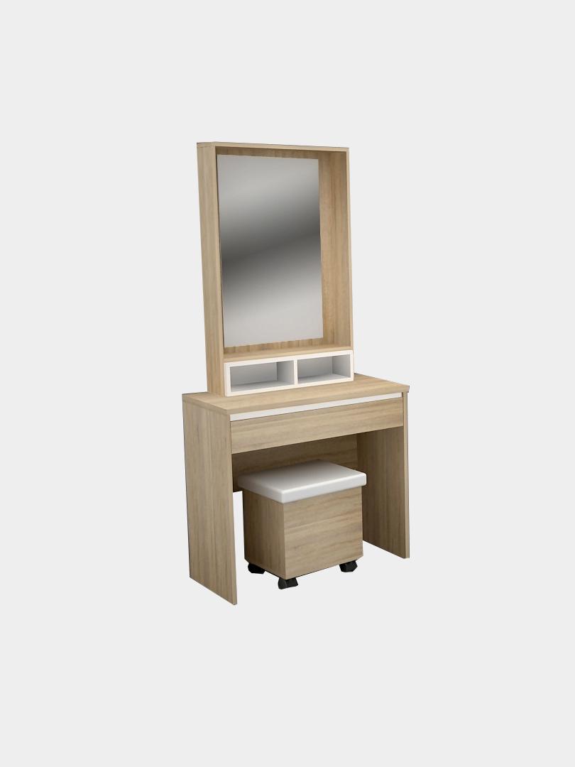 โต๊ะเครื่องแป้ง ขนาด 80 ซม. สีโซลิดโอ๊ค-ขาว