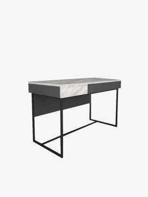 โต๊ะทำงานขาเหล็ก สีหินอ่อน-กราไฟต์