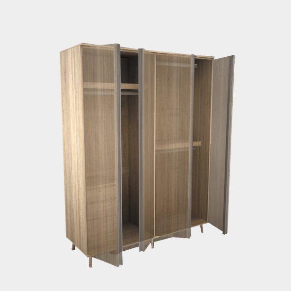 ตู้เสื้อผ้า กว้าง 160 ซม. สีโซลิดโอ๊ค-ซีเมนต์