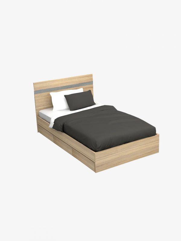 เตียง 3.5 ฟุต 3 ลิ้นชัก สีโซลิดโอ๊ค-ซีเมนต์