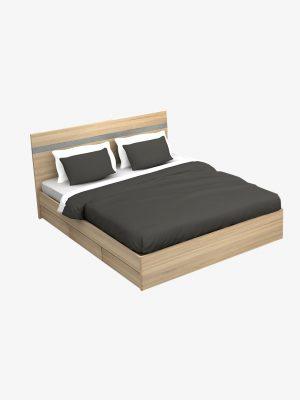 เตียง 5 ฟุต 3 ลิ้นชัก สีโซลิดโอ๊ค-ซีเมนต์