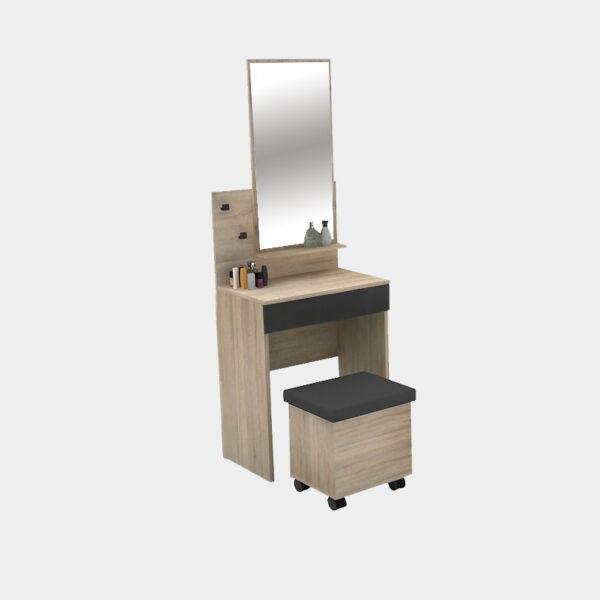 โต๊ะเครื่องแป้ง ขนาด 60 ซม. สีโซลิดโอ๊ค-กราไฟต์