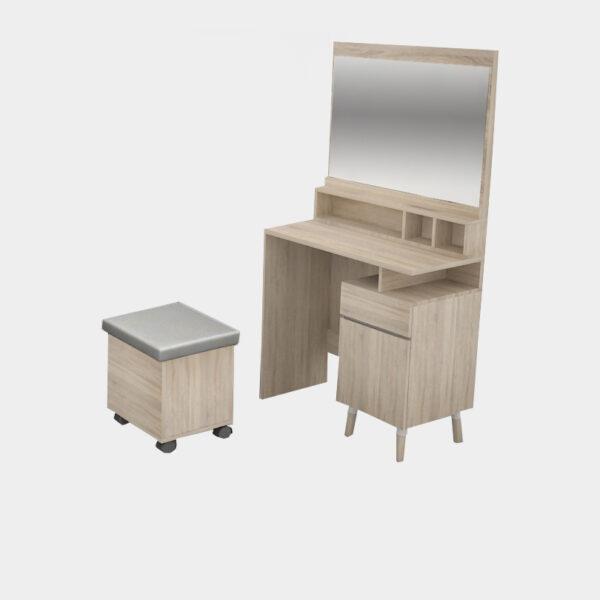 โต๊ะเครื่องแป้ง กว้าง 80 ซม. สีโซลิดโอ๊ค-ซีเมนต์