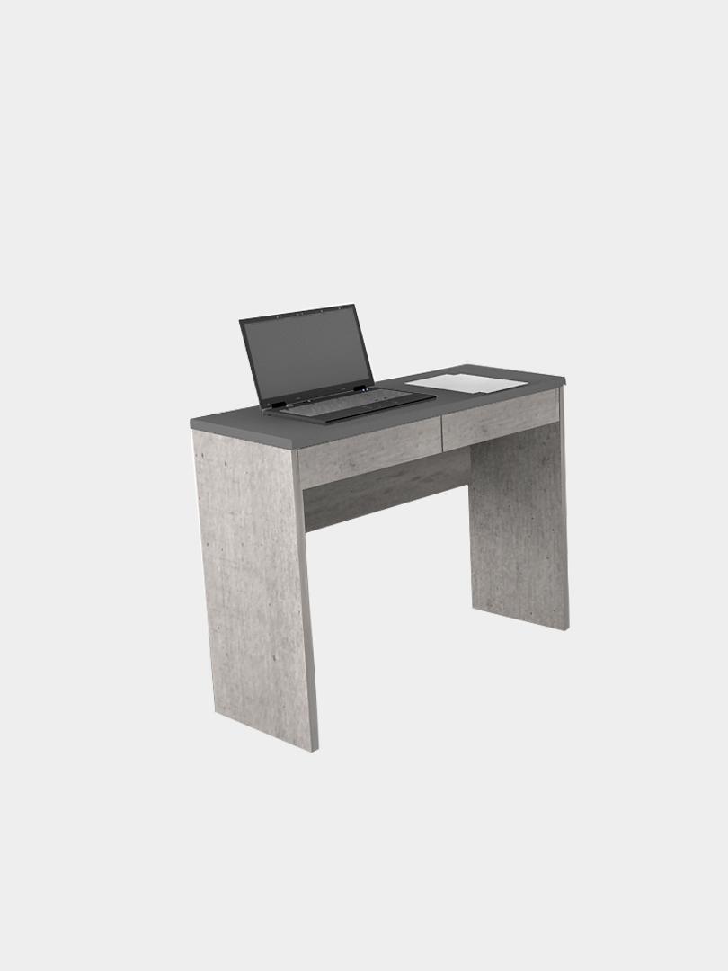 โต๊ะทำงานขนาดเล็ก สีซีเมนต์-ดำ