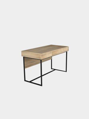 โต๊ะทำงานขาเหล็ก สีโซลิดโอ๊ค