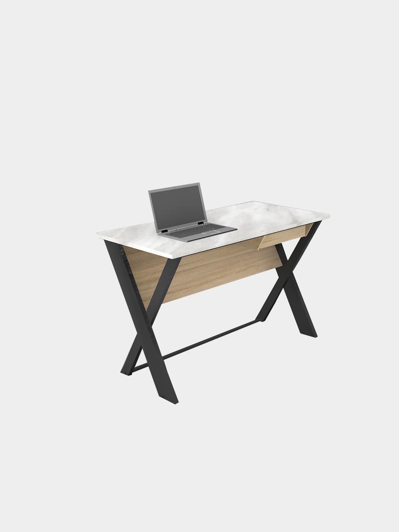โต๊ะทำงานขาไม้และเหล็ก