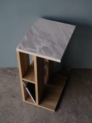 โต๊ะข้างโซฟา กว้าง32ซม สีโซลิดโอ๊ค-หินอ่อน