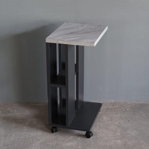 โต๊ะข้างโซฟาแบบมีล้อ กว้าง32ซม สีกราไฟต์-หินอ่อน