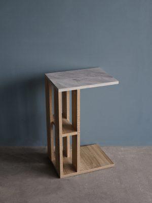 โต๊ะข้างโซฟา กว้าง40ซม สีโซลิดโอ๊ค-หินอ่อน