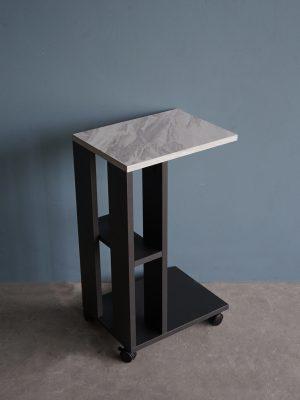 โต๊ะข้างโซฟาแบบมีล้อ กว้าง40ซม สีกราไฟต์-หินอ่อน
