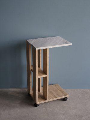 โต๊ะข้างโซฟาแบบมีล้อ กว้าง40ซม สีโซลิดโอ๊ค-หินอ่อน