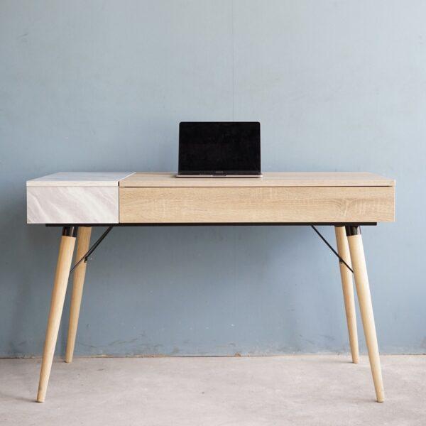 โต๊ะทำงานขาไม้ สีโซลิดโอ๊ค-หินอ่อน