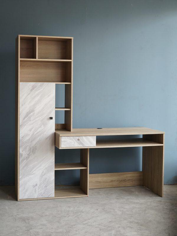 โต๊ะทำงานพร้อมชั้นวางของ รูปตัว I สีโซลิดโอ๊ค-หินอ่อน