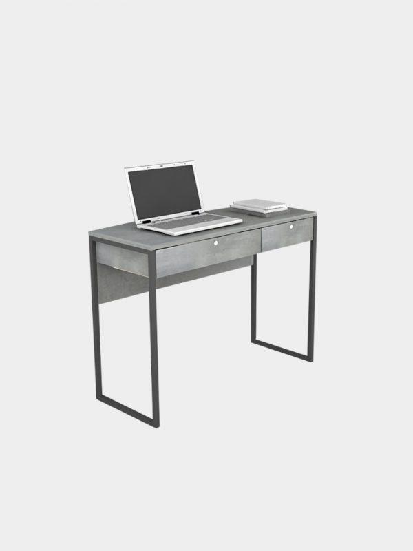 โต๊ะทำงานขาเหล็กคู่ สีซีเมนต์