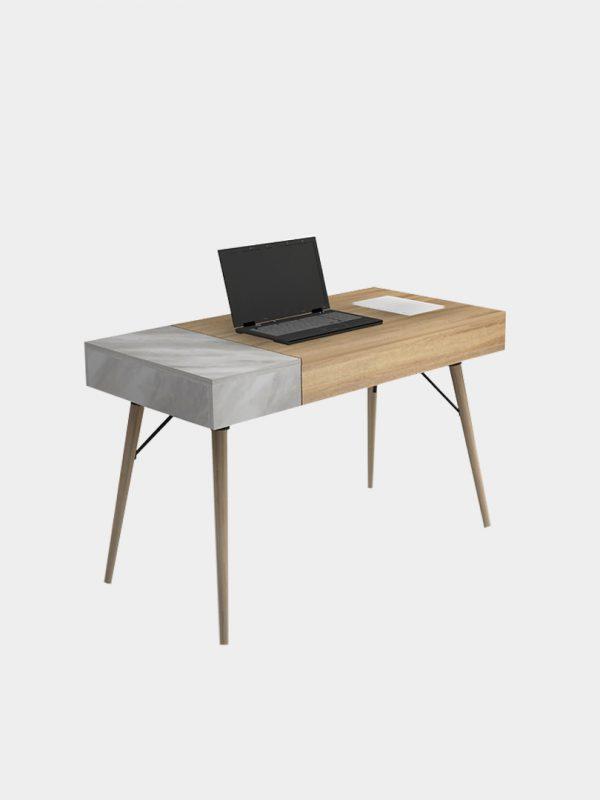 โต๊ะทำงานขาไม้ ลายหินอ่อน