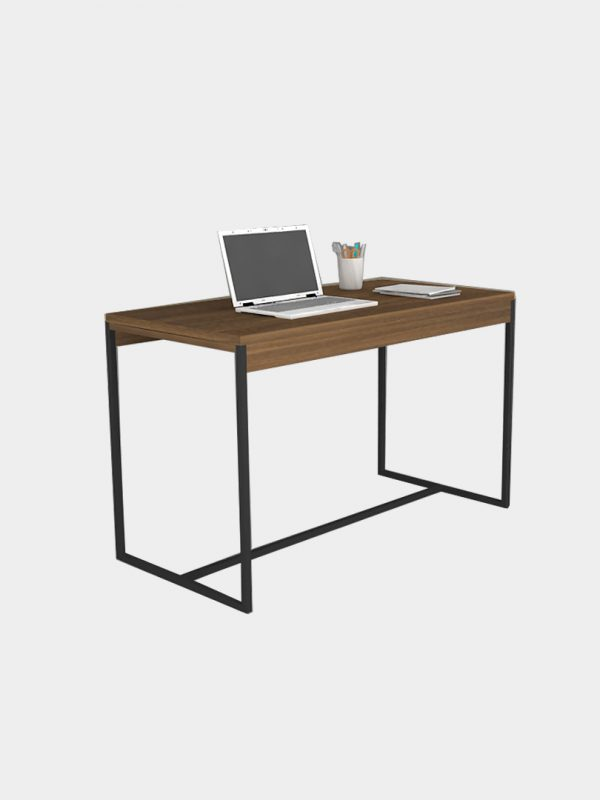 โต๊ะทำงานขาเหล็ก สีวอลนัท