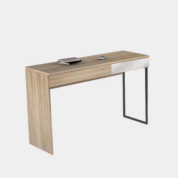 โต๊ะทำงานขาเหล็ก สีโซลิดโอ๊ค-หินอ่อน