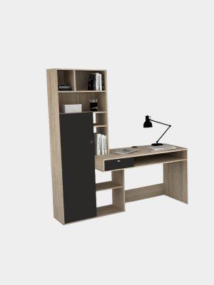 โต๊ะทำงานพร้อมชั้นวางของ รูปตัว I สีโซลิดโอ๊ค
