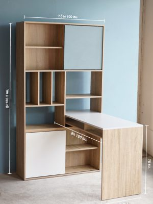 โต๊ะทำงานพร้อมชั้นวางของ Stuttgart รูปตัว L