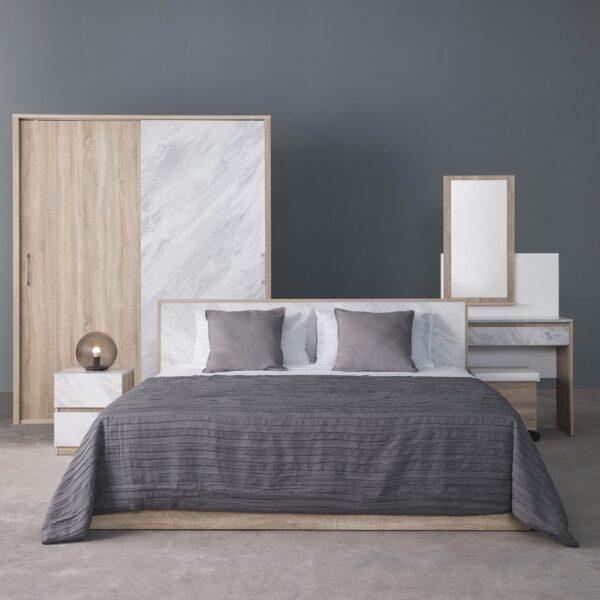ชุดห้องนอนเบอร์ลิน เตียง 5ฟุต สีโซลิดโอ๊ค-หินอ่อน