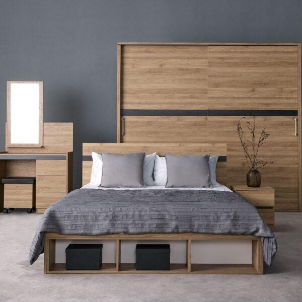 ชุดห้องนอนโคโลญ เตียง 5ฟุต สีฮันนี่วอลนัท-กราไฟต์